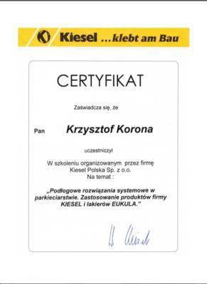 Certyfikat Uczestnictwa w szkoleniu przez Firmę Kiesel Polska