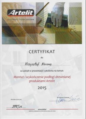 Certyfikat Artelit Systemy Podłogowe